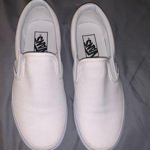 All White Slip On Vans Size 7.5